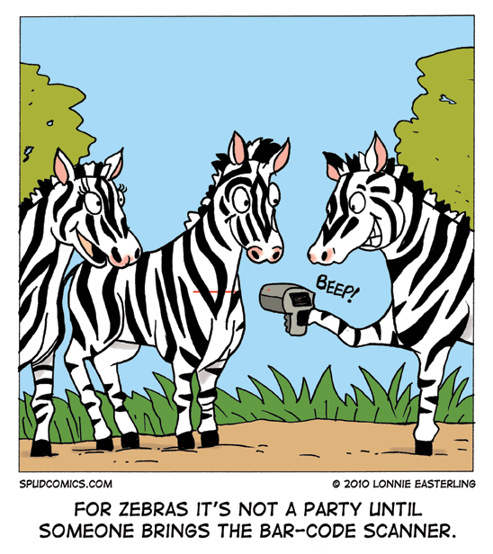 Zebra bar code scanner comic