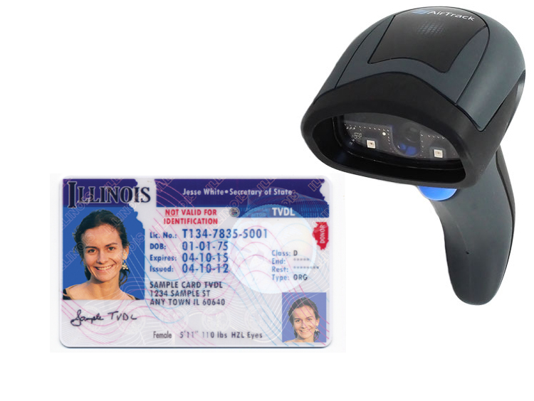 Airtrack scanner decodes driver license