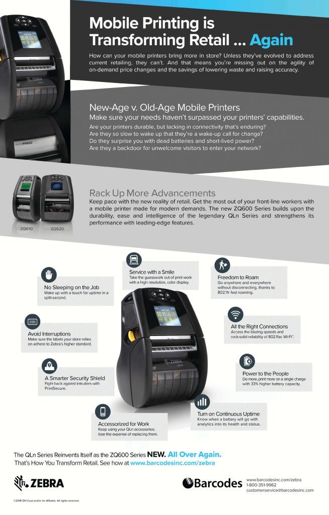 The New Zebra ZQ600 Series of mobile printers for retail