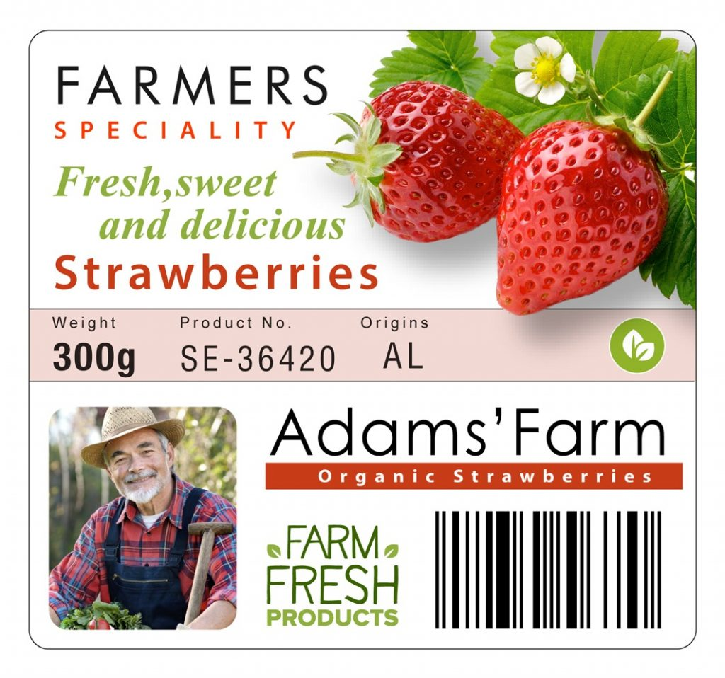 Epson Colorworks c7500 industrial color label printer strawberry food label sample