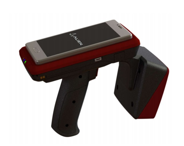 Alien RFID (Radio Frequency Identification) Sled Handheld Reader with smart mobile device attached.