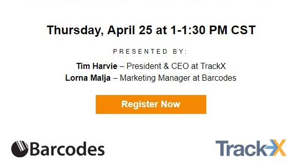 Join TrackX and Barcodes for a FREE webinar on April 25th to learn how RFID can help increase workflow, inventory visibility and provide real-time data. Register here.