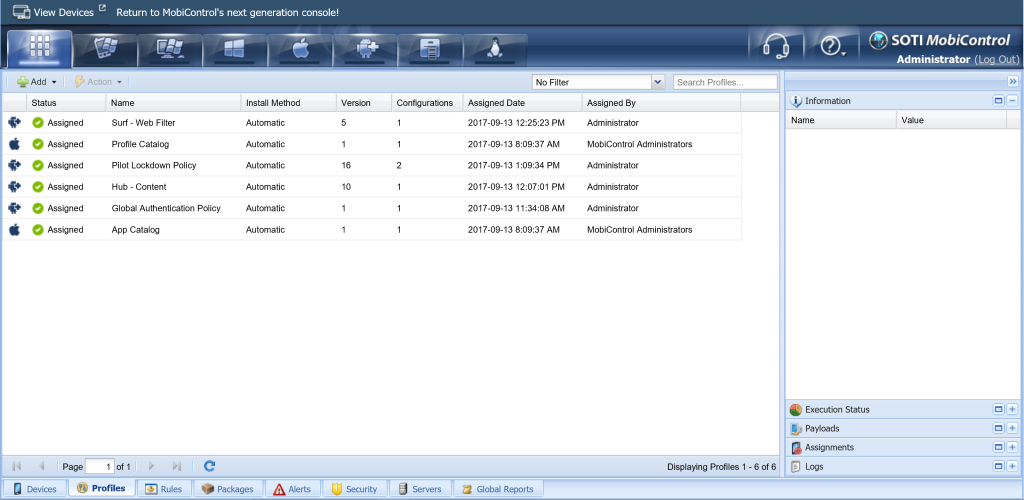 Soti MobiControl administrator view of all mobile devices in the same enterprise network for easy update and deployments.