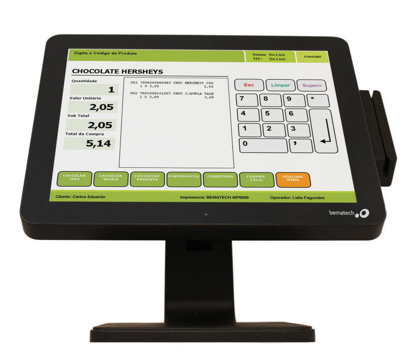 Enhance customer experience at the checkout line with Bematech LE1015 Touch Monitor.